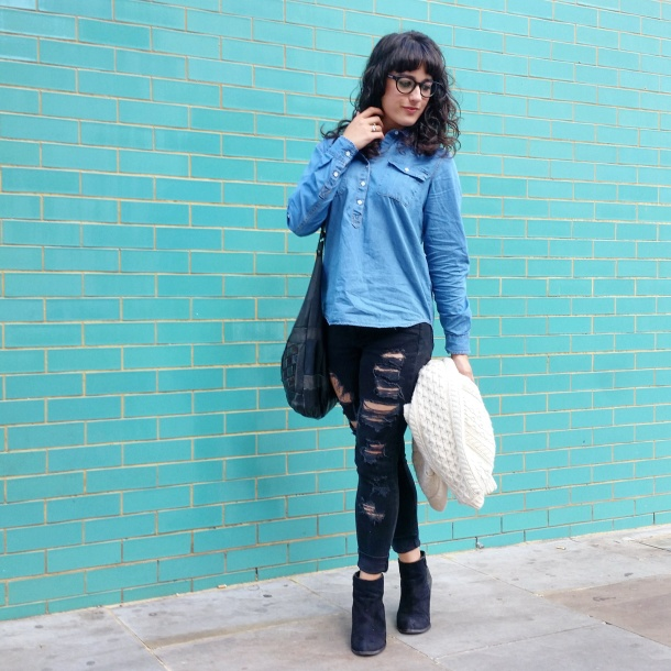 Call Me Katie - What I Wore - Ripped jeans, chambray shirt & knit cardigan 8