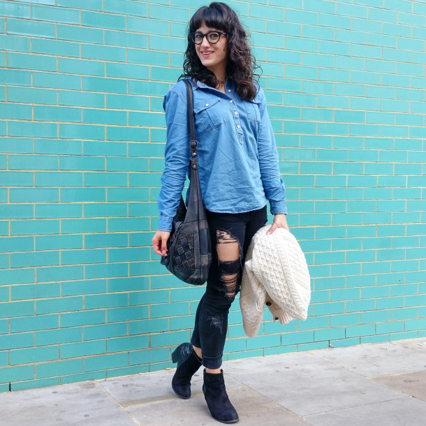 Call Me Katie - What I Wore - Ripped jeans, chambray shirt & knit cardigan 9