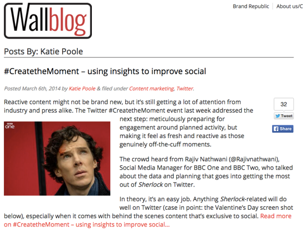 Published in Brand Republic's Wall Blog: Using Insights to Improve Social, 6th March 2014
