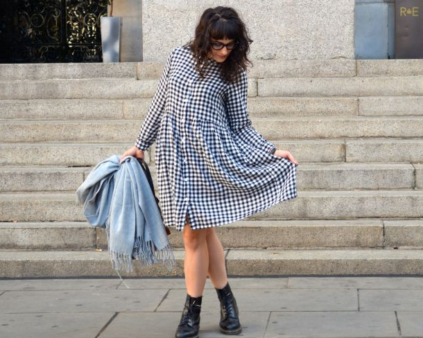 Monki Aoi Dress in Black and White with Dr Martens- Call Me Katie - 01