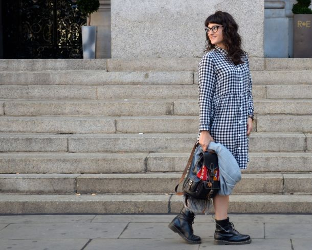 Monki Aoi Dress in Black and White with Dr Martens- Call Me Katie - 07