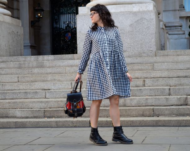 Monki Aoi Dress in Black and White with Dr Martens- Call Me Katie - 11