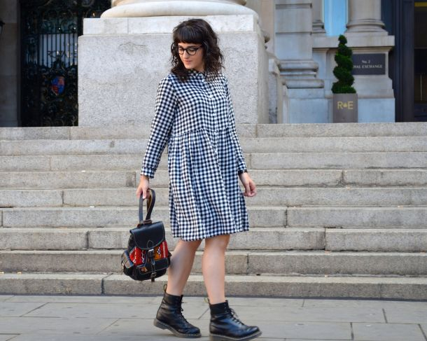 Monki Aoi Dress in Black and White with Dr Martens- Call Me Katie - 12