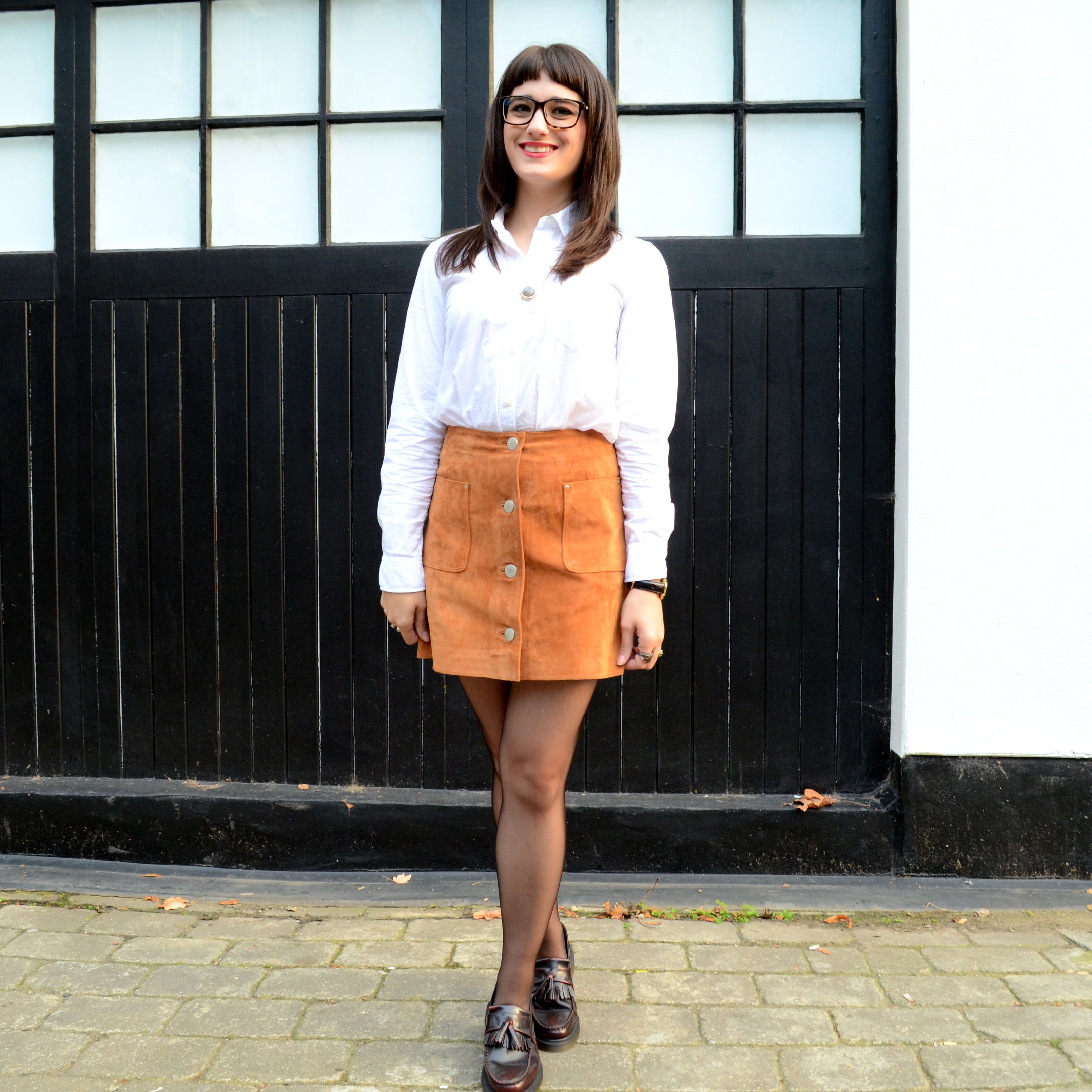 AW15 Trends: Tan Suede Skirt, Office Style | Call me Katie