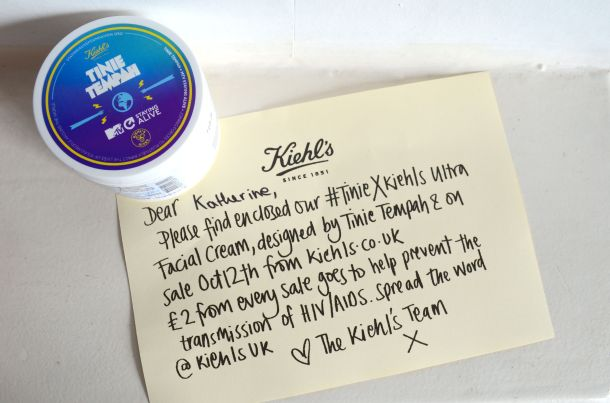 Call Me Katie - Kiehl's - Ultra Facial Cream with Limited Edition Tinie Tempah x MTV Staying Alive Label - £2 from each sale is donated to MTV Staying Alive to help stop the spread of AIDs and HIV - 11