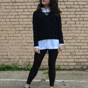 What I Wore: oversized boyfriend shirt with leather-look leggings for theoffice
