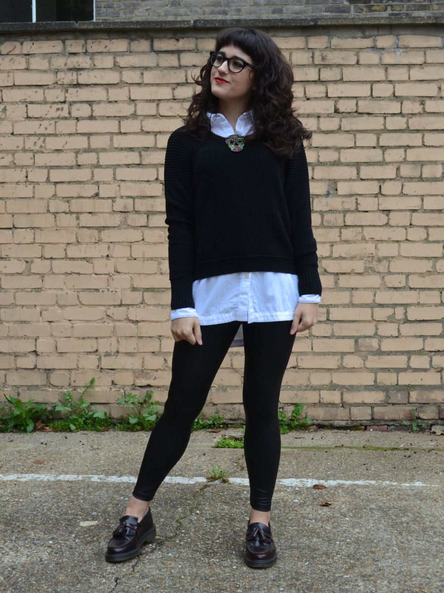 What I Wore: oversized boyfriend shirt with leather-look leggings for the office