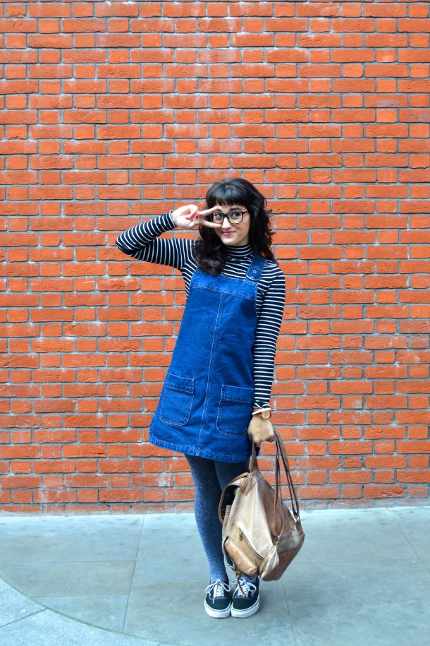 Call Me Katie - denim pinafore pull over dress with striped turtleneck, thick tights and flat shoes for a winter daytime look - 01