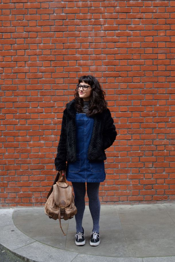 Call Me Katie - denim pinafore pull over dress with striped turtleneck, thick tights and flat shoes for a winter daytime look - 02