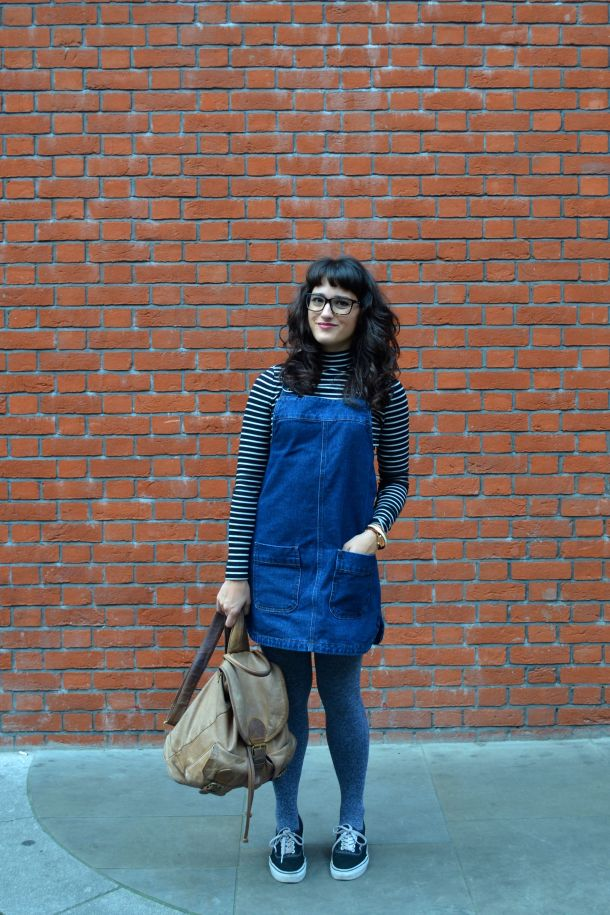 Call Me Katie - denim pinafore pull over dress with striped turtleneck, thick tights and flat shoes for a winter daytime look - 07