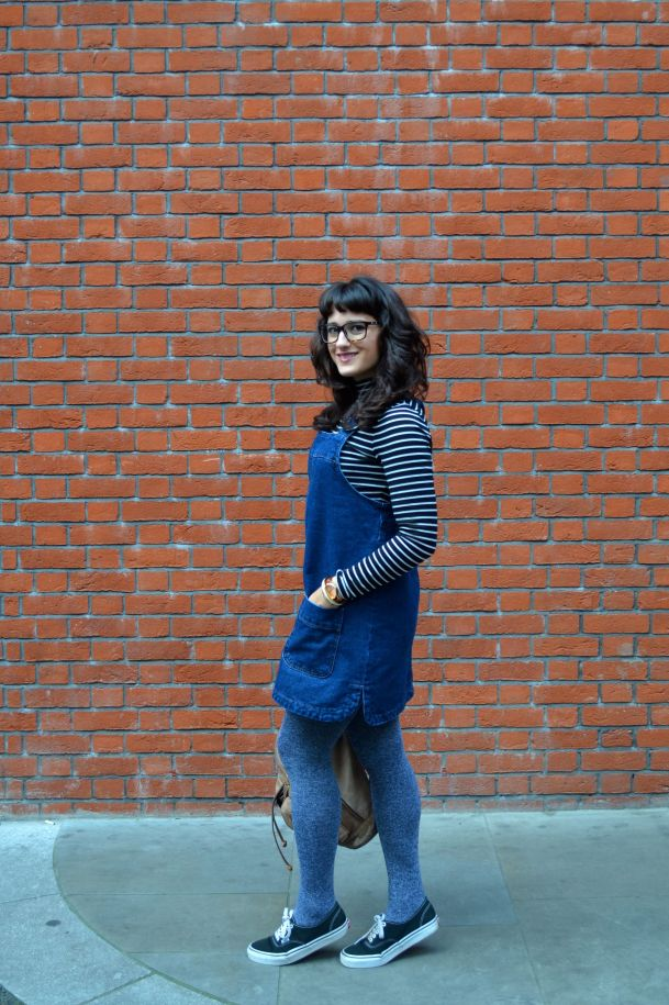 Call Me Katie - denim pinafore pull over dress with striped turtleneck, thick tights and flat shoes for a winter daytime look - 08