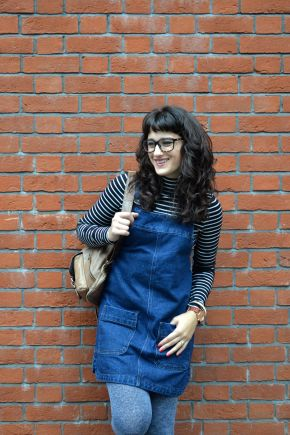 What I Wore: denim pinafore dress