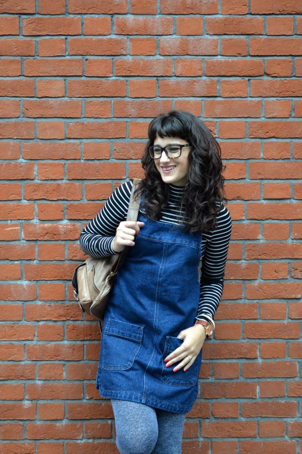 Call Me Katie - denim pinafore pull over dress with striped turtleneck, thick tights and flat shoes for a winter daytime look - 11