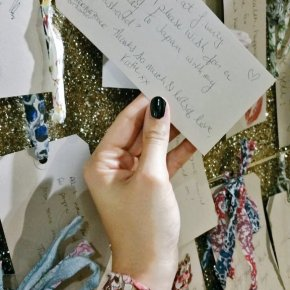 Making wishes at Liberty London's Wish Wall