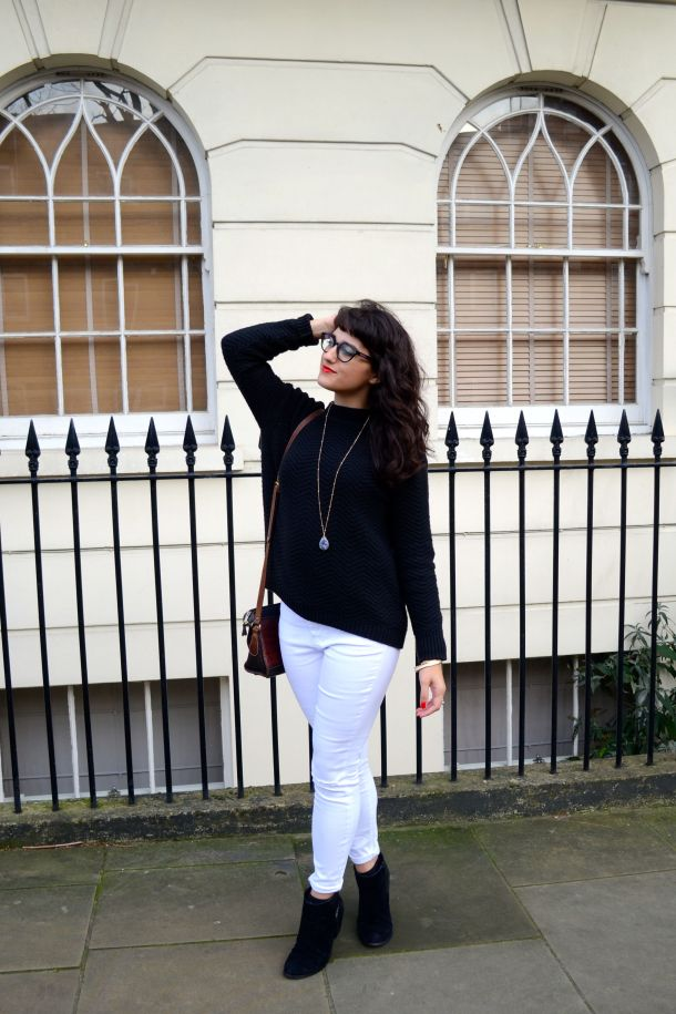 Call Me Katie - White jeans, black sweater and ankle boots for a day to night winter look - 02