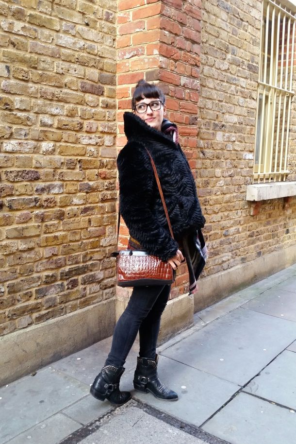 Call Me Katie - What I Wore: black skinny jeans, Frye cowgirl boots, faux leather coat and a blanket scarf for a cosy Sunday brunch look - 03