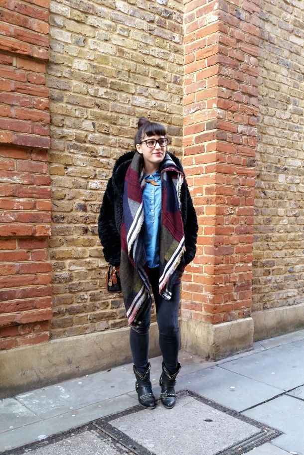 Call Me Katie - What I Wore: black skinny jeans, Frye cowgirl boots, faux leather coat and a blanket scarf for a cosy Sunday brunch look - 04