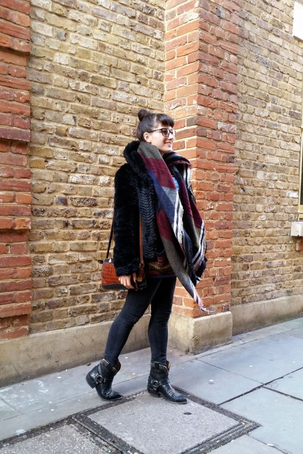 Call Me Katie - What I Wore: black skinny jeans, Frye cowgirl boots, faux leather coat and a blanket scarf for a cosy Sunday brunch look - 05