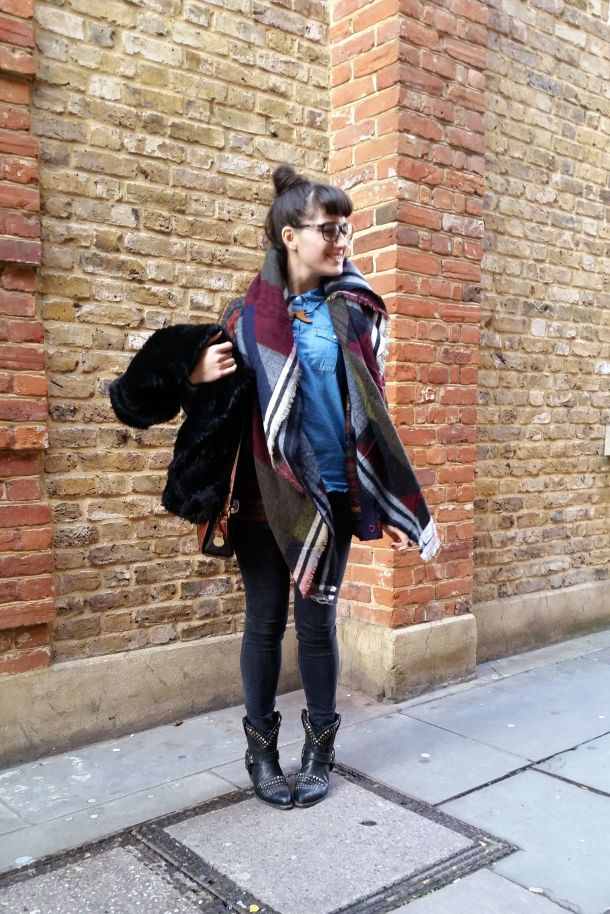 Call Me Katie - What I Wore: black skinny jeans, Frye cowgirl boots, faux leather coat and a blanket scarf for a cosy Sunday brunch look - 06