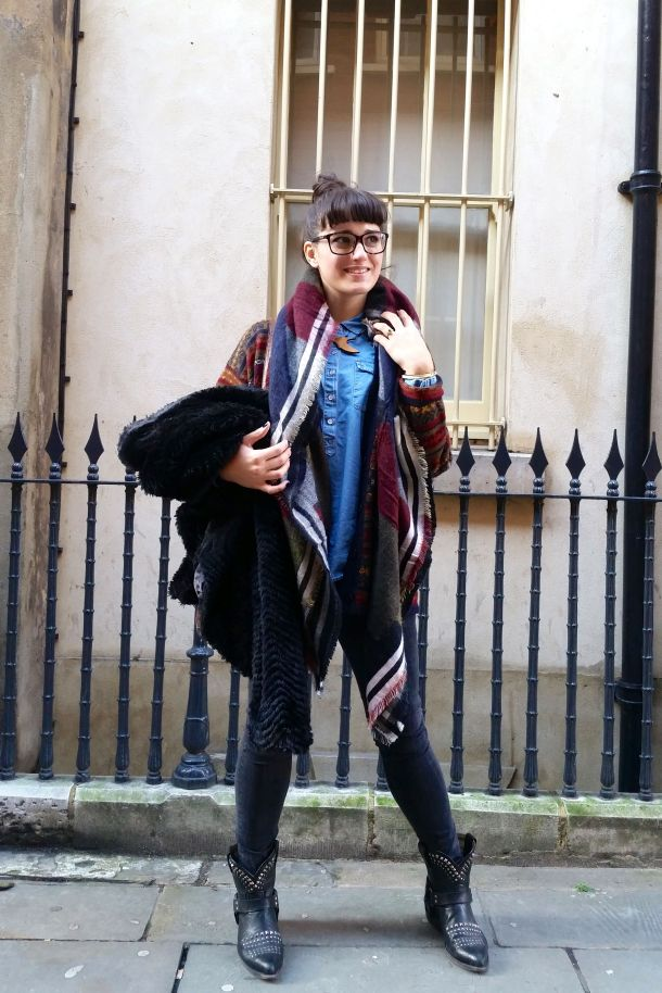 Call Me Katie - What I Wore: black skinny jeans, Frye cowgirl boots, faux leather coat and a blanket scarf for a cosy Sunday brunch look - 12