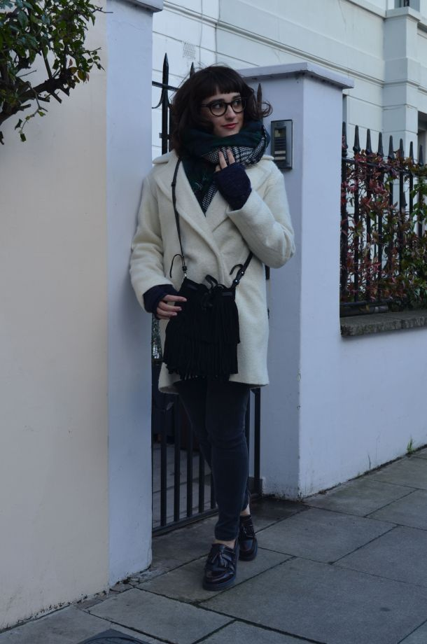 Call Me Katie - White winter coat, black skinny jeans, Dr Martens loafers, black sweater, Maison Scotch button down shirt, bracelets by Whistle and Bango and a Casio watch via ASOS for a weekend or casual office look - 04