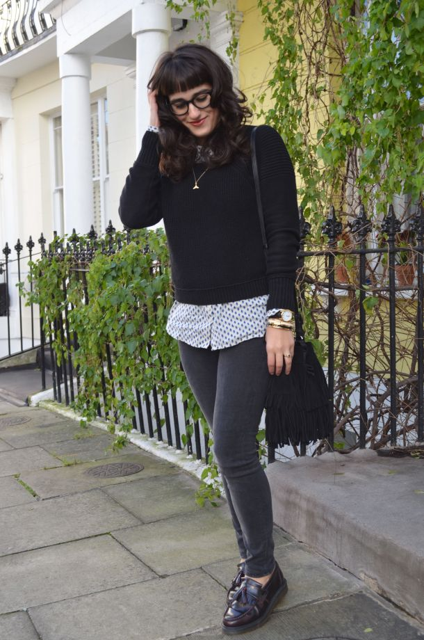 Call Me Katie - White winter coat, black skinny jeans, Dr Martens loafers, black sweater, Maison Scotch button down shirt, bracelets by Whistle and Bango and a Casio watch via ASOS for a weekend or casual office look - 16