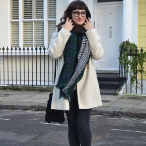What I Wore: white winter coat andloafers
