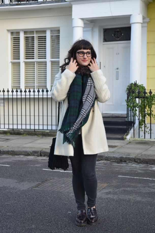 Call Me Katie - White winter coat, black skinny jeans, Dr Martens loafers, black sweater, Maison Scotch button down shirt, bracelets by Whistle and Bango and a Casio watch via ASOS for a weekend or casual office look - 13