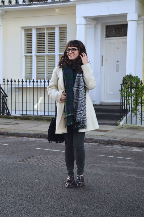 Call Me Katie - White winter coat, black skinny jeans, Dr Martens loafers, black sweater, Maison Scotch button down shirt, bracelets by Whistle and Bango and a Casio watch via ASOS for a weekend or casual office look - 14