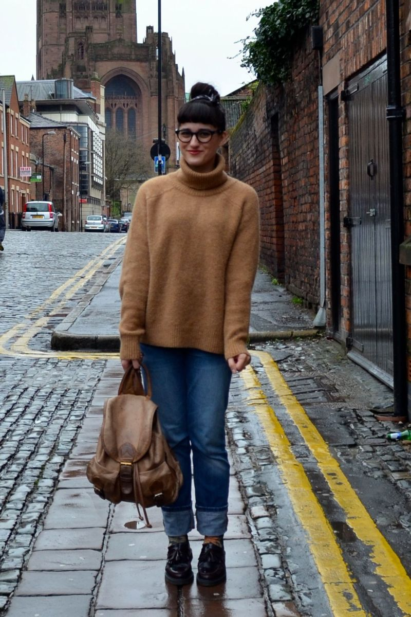 What I Wore: boyfriend jeans and loafers for a rainy day in Liverpool