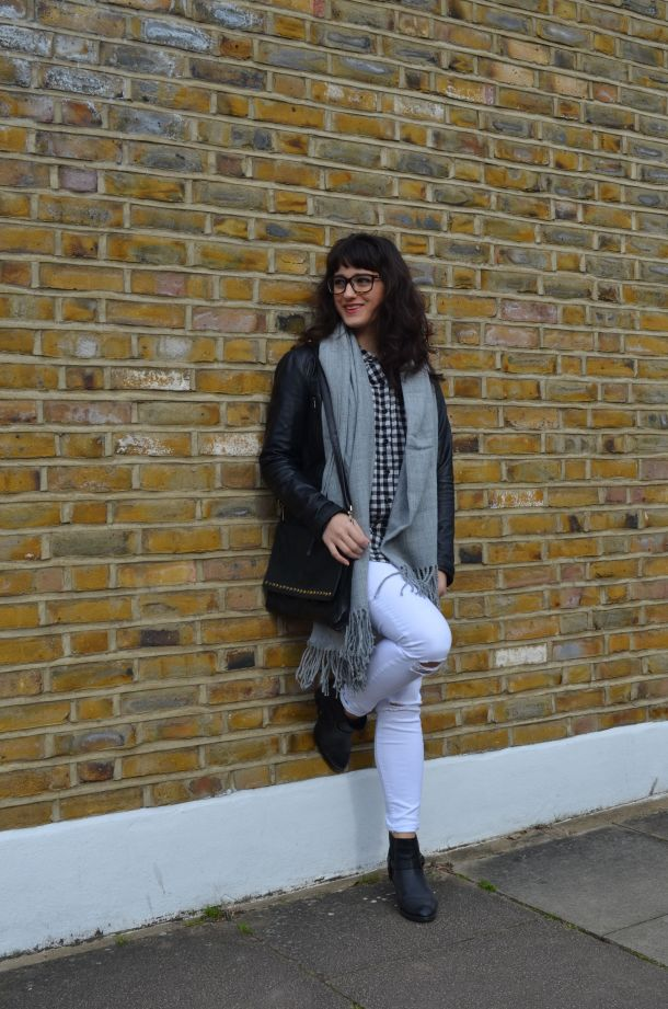 Call Me Katie - wearing a monochrome look with white jeans and a black leather jacket for spring - 2