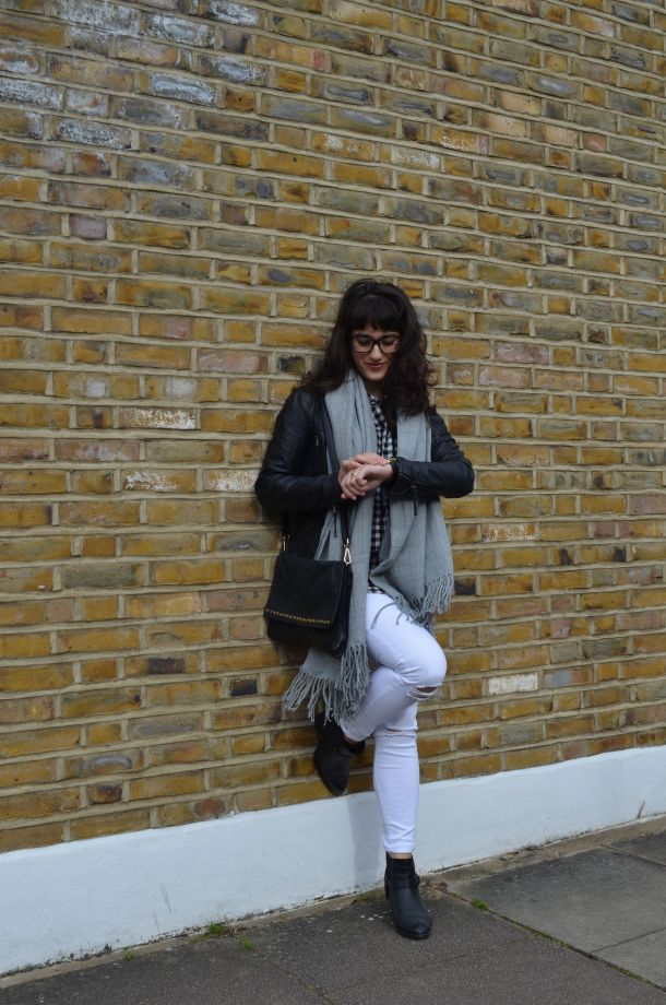 Call Me Katie - wearing a monochrome look with white jeans and a black leather jacket for spring - 3