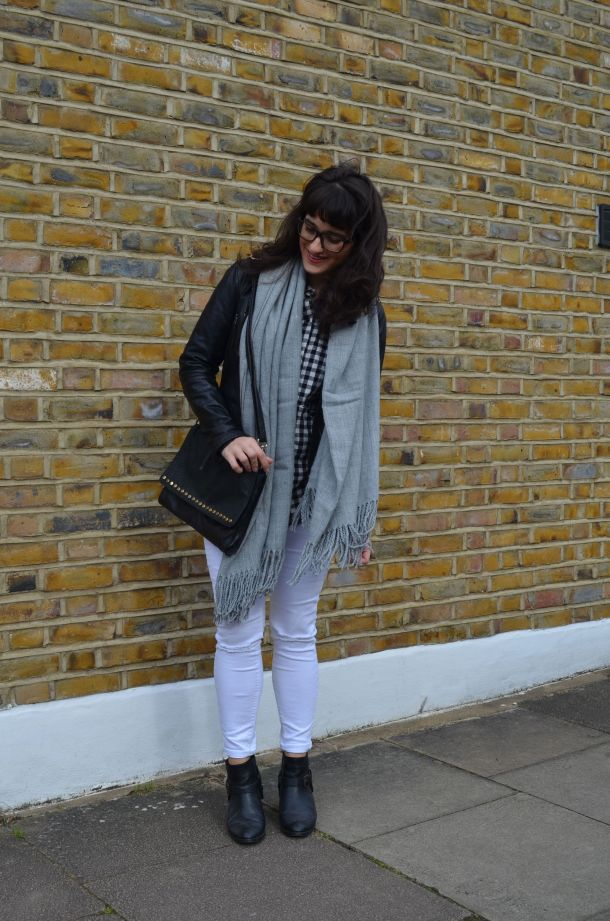 Call Me Katie - wearing a monochrome look with white jeans and a black leather jacket for spring - 4