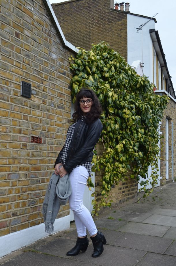 Call Me Katie - wearing a monochrome look with white jeans and a black leather jacket for spring - 6