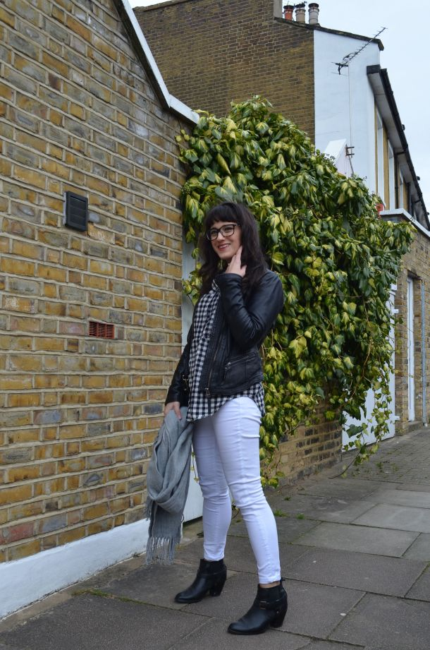 Call Me Katie - wearing a monochrome look with white jeans and a black leather jacket for spring - 7