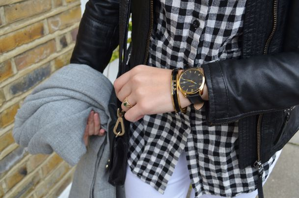 Call Me Katie - wearing a monochrome look with white jeans and a black leather jacket for spring - 8