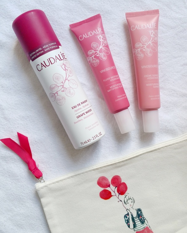Call Me Katie - beauty review of Caudalie Vinosource Grape Water, Moisturizing Fluid for combination skin and Moisturizing Sorbet for sensitive skin 1