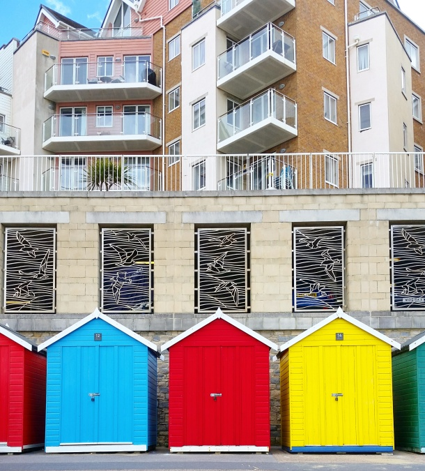 Call Me Katie - Bournemouth - Blue Red Yellow Beach Huts