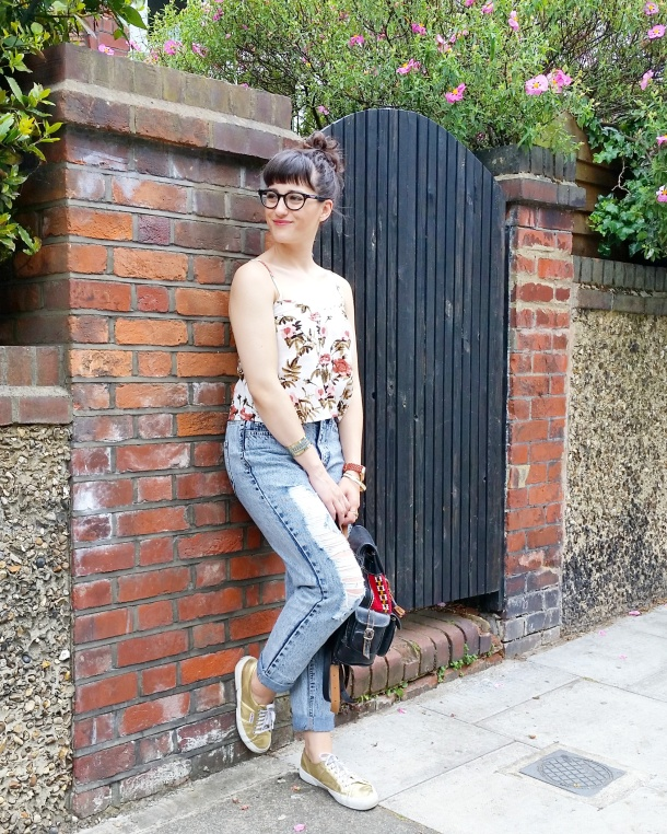Call Me Katie - Lost Ink cropped floral cami with ripped mom jeans by Noisy May and gold Superga sneakers via ASOS for a spring look to wear to Sunday lunch weekend style 11
