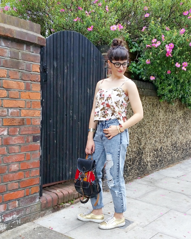 Call Me Katie - Lost Ink cropped floral cami with ripped mom jeans by Noisy May and gold Superga sneakers via ASOS for a spring look to wear to Sunday lunch weekend style 12