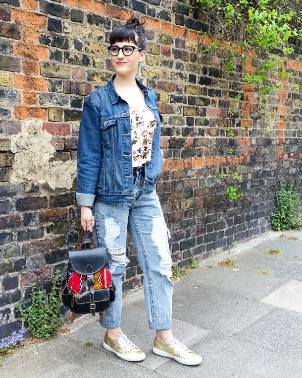 Call Me Katie - Lost Ink cropped floral cami with ripped mom jeans by Noisy May and gold Superga sneakers via ASOS for a spring look to wear to Sunday lunch weekend style 2