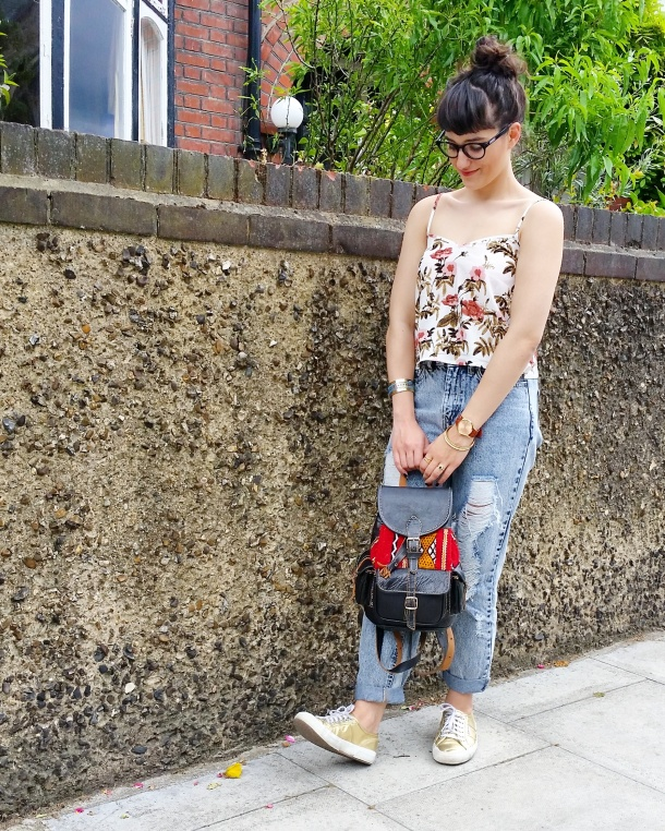 Call Me Katie - Lost Ink cropped floral cami with ripped mom jeans by Noisy May and gold Superga sneakers via ASOS for a spring look to wear to Sunday lunch weekend style 6