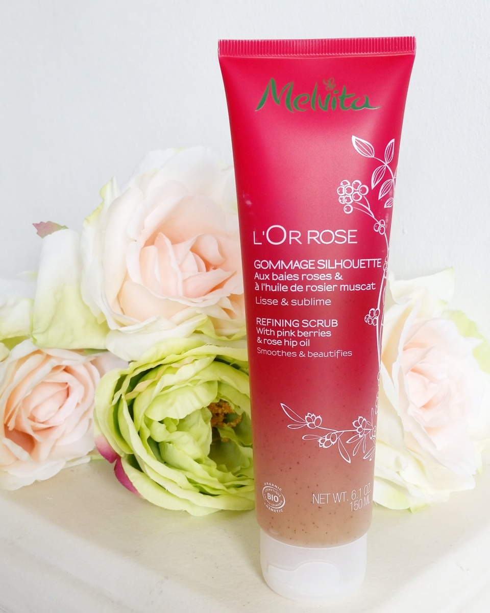 Introducing Melvita L'Or Rose Refining Scrub with pink berries and rose hip oil