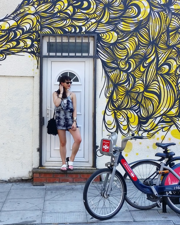Call Me Katie - summer jumpsuit with palm trees and clarks sandals for a casual weekend look in east london 3