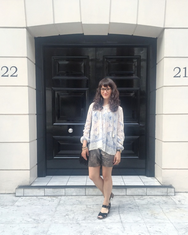 Call Me Katie - wearing denim and supply by ralph lauren peasant blouse, muubaa gold leather shorts, new look shoes and mango handbag for afternoon tea at sketch 1