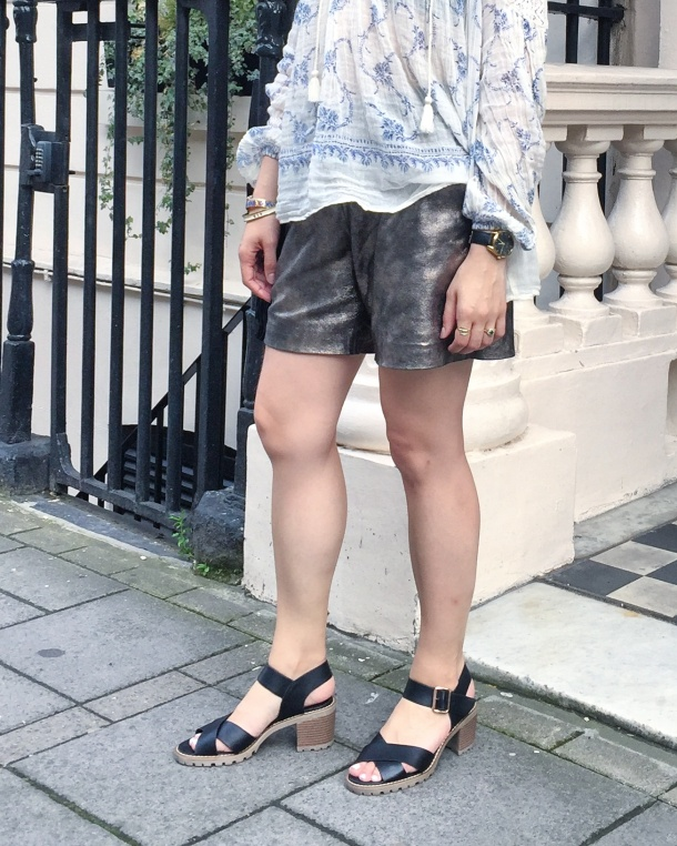 Call Me Katie - wearing denim and supply by ralph lauren peasant blouse, muubaa gold leather shorts, new look shoes and mango handbag for afternoon tea at sketch 10