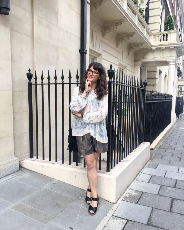 Call Me Katie - wearing denim and supply by ralph lauren peasant blouse, muubaa gold leather shorts, new look shoes and mango handbag for afternoon tea at sketch 12