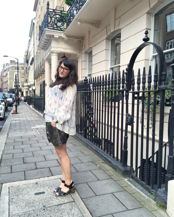 Call Me Katie - wearing denim and supply by ralph lauren peasant blouse, muubaa gold leather shorts, new look shoes and mango handbag for afternoon tea at sketch 2