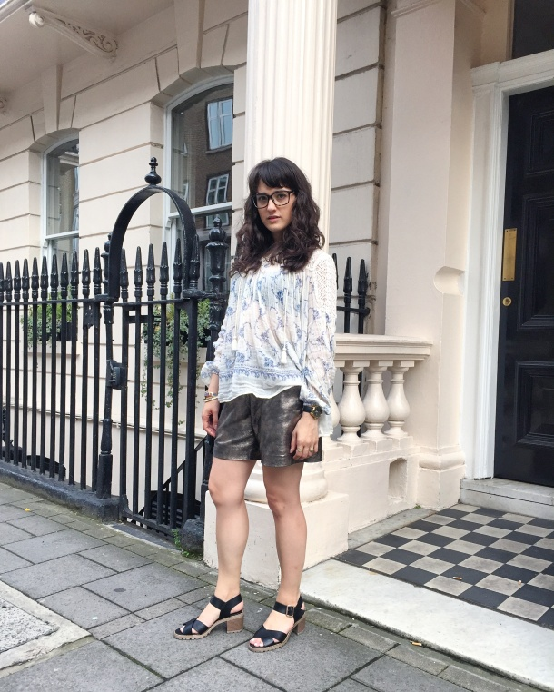 Call Me Katie - wearing denim and supply by ralph lauren peasant blouse, muubaa gold leather shorts, new look shoes and mango handbag for afternoon tea at sketch 3