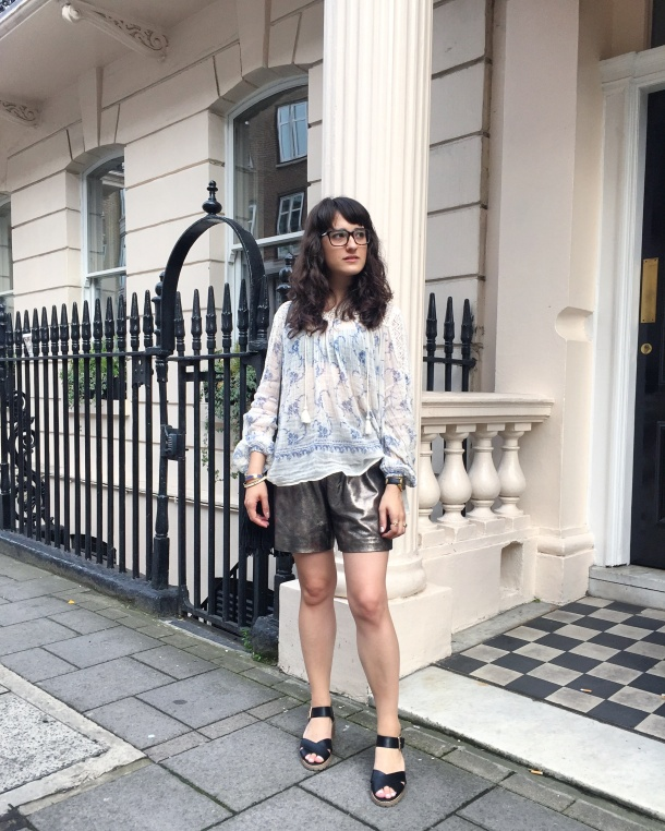 Call Me Katie - wearing denim and supply by ralph lauren peasant blouse, muubaa gold leather shorts, new look shoes and mango handbag for afternoon tea at sketch 9